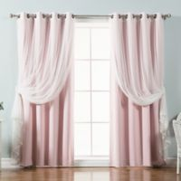 Decorinnovation Mix & Match Tulle 84-Inch Blackout Window Curtain Panel Pair in Light Pink