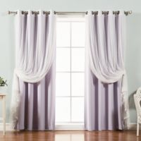 Decorinnovation Mix & Match Tulle 96-Inch Blackout Window Curtain Panel Pair in Lilac