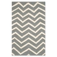 Safavieh Cambridge 2-Foot 6-Inch x 4-Foot Zoe Wool Rug in Dark Grey/Ivory