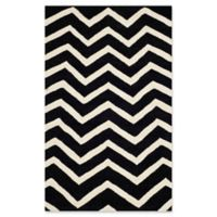 Safavieh Cambridge 4-Foot x 6-Foot Zoe Wool Rug in Black/Ivory