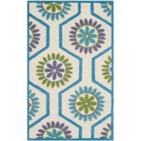 Safavieh Cambridge 3-Foot x 5-Foot Mia Wool Rug in Ivory and Blue
