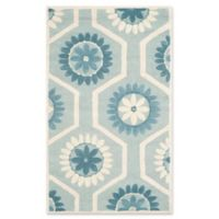 Safavieh Cambridge 3-Foot x 5-Foot Mia Wool Rug in Blue and Ivory
