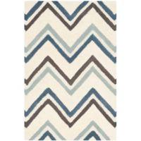 Safavieh Cambridge 2-Foot 6-Inch x 4-Foot Lauren Wool Rug in Ivory/Blue