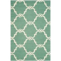 Safavieh Cambridge 4-Foot x 6-Foot Diana Wool Rug in Teal/Ivory