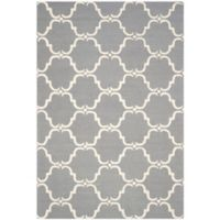 Safavieh Cambridge 6-Foot x 9-Foot Diana Wool Rug in Dark Grey/Ivory