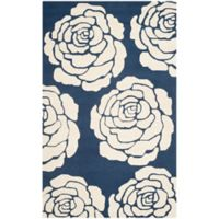 Safavieh Cambridge 3-Foot x 5-Foot Molly Wool Rug in Navy /Ivory