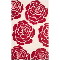 Safavieh Cambridge 4-Foot x 6-Foot Molly Wool Rug in Ivory/Red