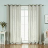 Decorinnovation Faux Linen 84-Inch Grommet Top Window Curtain Panel Pair in Grey