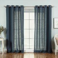 Decorinnovation Faux Linen 84-Inch Grommet Top Window Curtain Panel Pair in Indigo Blue