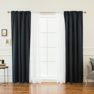 Decorinnovation Mix Match Voile 84 Inch Blackout Window Curtain Panel Pair In Navy