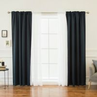 Decorinnovation Mix & Match Voile 84-Inch Blackout Window Curtain Panel Pair in Navy