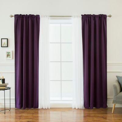 Decorinnovation Mix U0026 Match Voile 84 Inch Blackout Window Curtain Panel  Pair In Purple