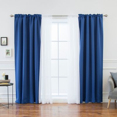 Decorinnovation Mix U0026 Match Voile 84 Inch Blackout Window Curtain Panel  Pair In Royal Blue