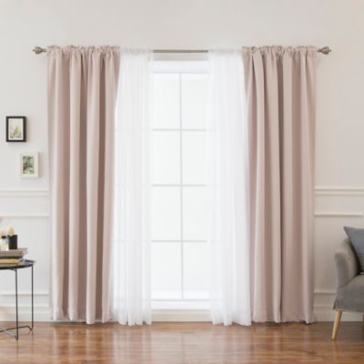 mix u0026 match voile 84inch blackout window curtain panel pair in baby pink