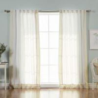 Decorinnovation Linen Blend Border 84-Inch Rod Pocket Window Curtain Panel Pair in Flax/White