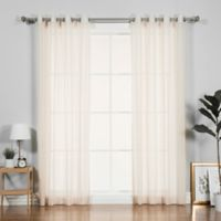 Decorinnovation Pippin Linen 84-Inch Grommet Top Window Curtain Panel Pair in Ivory