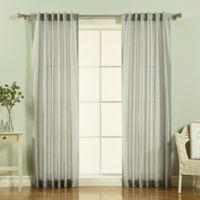 Decorinnovation Faux Silk Candy Stripe 84-Inch Rod Pocket Window Curtain Panel Pair in Grey
