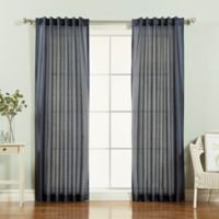 Decorinnovation Faux Silk Candy Stripe 84-Inch Rod Pocket Window Curtain Panel Pair in Navy