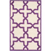 Safavieh Cambridge 2-Foot 6-Inch x 4-Foot Ana Wool Rug in Ivory and Purple