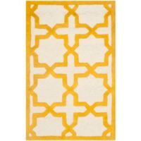 Safavieh Cambridge 2-Foot 6-Inch x 4-Foot Ana Wool Rug in Ivory and Gold