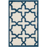 Safavieh Cambridge 2-Foot 6-Inch x 4-Foot Ana Wool Rug in Ivory and Navy