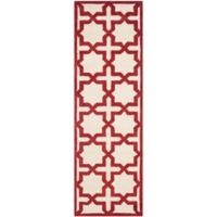 Safavieh Cambridge 2-Foot 6-Inch x 8-Foot Ana Wool Rug in Ivory and Rust
