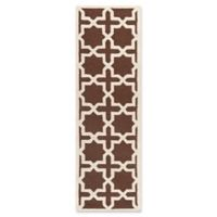 Safavieh Cambridge 2-Foot 6-Inch x 12-Foot Ana Wool Rug in Dark Brown and Ivory