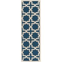 Safavieh Cambridge 2-Foot 6-Inch x 18-Foot Ana Wool Rug in Navy Blue and Ivory