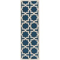 Safavieh Cambridge 2-Foot 6-Inch x 22-Foot Ana Wool Rug in Navy Blue and Ivory