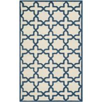 Safavieh Cambridge 5-Foot x 8-Foot Ana Wool Rug in Ivory and Navy