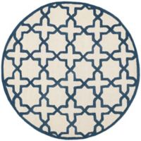 Safavieh Cambridge 6-Foot x 6-Foot Ana Wool Rug in Ivory and Navy