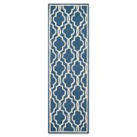 Safavieh Cambridge 2-Foot 6-Inch x 14-Foot Ella Wool Rug in Navy /Ivory
