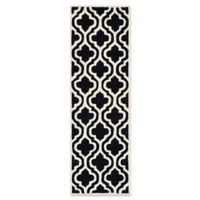 Safavieh Cambridge 2-Foot 6-Inch x 10-Foot Becca Wool Rug in Black/Ivory