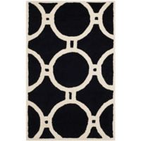 Safavieh Cambridge 2-Foot 6-Inch x 4-Foot Morgan Wool Rug in Black/Ivory