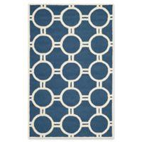 Safavieh Cambridge 4-Foot x 6-Foot Morgan Wool Rug in Navy Blue/Ivory