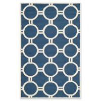Safavieh Cambridge 6-Foot x 9-Foot Morgan Wool Rug in Navy Blue/Ivory