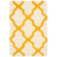 Safavieh Cambridge 2-Foot x 3-Foot Quatrefoil Wool Rug in Ivory/Gold