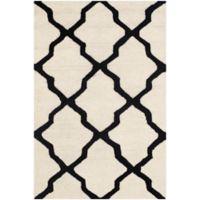 Safavieh Cambridge 2-Foot 6-Inch x 4-Foot Quatrefoil Wool Rug in Ivory/Black