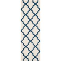 Safavieh Cambridge 2-Foot 6-Inch x 8-Foot Quatrefoil Wool Rug in Ivory/Navy