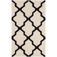 Safavieh Cambridge 3-Foot x 5-Foot Quatrefoil Wool Rug in Ivory/Black