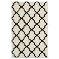 Safavieh Cambridge 5-Foot x 8-Foot Quatrefoil Wool Rug in Ivory/Black