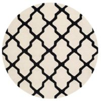 Safavieh Cambridge 6-Foot x 6-Foot Quatrefoil Wool Rug in Ivory/Black