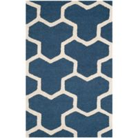 Safavieh Cambridge 2-Foot x 3-Foot Lia Wool Rug in Navy Blue/Ivory