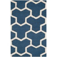 Safavieh Cambridge 2-Foot 6-Inch x 4-Foot Lia Wool Rug in Navy Blue/Ivory