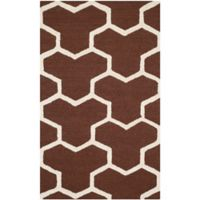 Safavieh Cambridge 2-Foot 6-Inch x 4-Foot Lia Wool Rug in Dark Brown/Ivory
