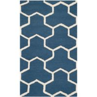 Safavieh Cambridge 3-Foot x 5-Foot Lia Wool Rug in Navy Blue/Ivory