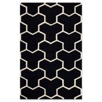 Safavieh Cambridge 5-Foot x 8-Foot Lia Wool Rug in Black/Ivory