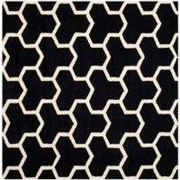 Safavieh Cambridge 8-Foot x 8-Foot Lia Wool Rug in Black/Ivory