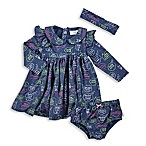 Rosie Pope® Size 18M Pink Glitter Denim 3-Piece Dress and Diaper Cover Set