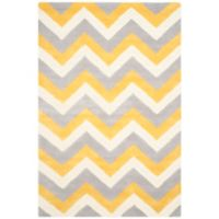 Safavieh Cambridge 4-Foot x 6-Foot Dylan Wool Rug in Grey/Gold